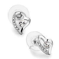 Mother S Day Love Gift Heart Clear Crystal Elegant Stud Earrings