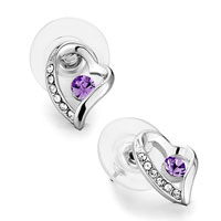 Mothers Day Gifts Heart Clear Crystal Violet Crystal Stud Earrings