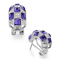 Mothers Day Gifts Half Circle Clear Detailed Crystal Tanzanite Swarovski Crystal Squares Stud Earrings