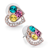 Mothers Day Gifts Rose Gold Heart Clear Crystal Colorful Swarovski Crystal Stud Earrings
