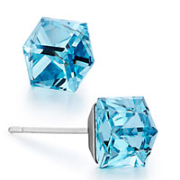 Mothers Day Gifts Classic March Birthstone Aquamarine Swarovski Crystal Crystal Cube Stud Earrings