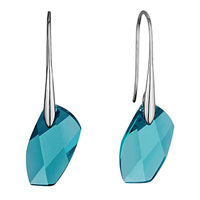 Mothers Day Gifts Classic Carribbean Blue Opal Swarovski Crystal Avant Garde Dangle Earrings