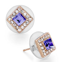 Mothers Day Gifts Rose Gold Square Crystal Tanzanite Crystal Stud Earrings