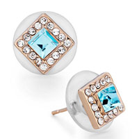 Mothers Day Gifts Rose Gold Square Clear Crystal March Birthstone Aquamarine Swarovski Crystal Stud Earrings
