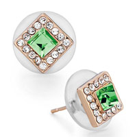 Mothers Day Gifts Rose Gold Square Clear Crystal August Birthstone Peridot Swarovski Crystal Stud Earrings