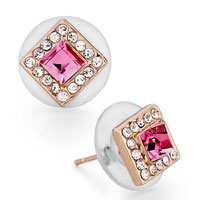 Rose Gold Square Clear Crystal October Birthstone Crystal Stud Earrings