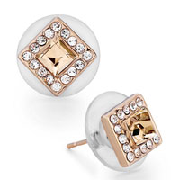 Mothers Day Gifts Rose Gold Square Clear Crystal Golden Shadow Swarovski Crystal Stud Earrings