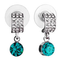 Mothers Day Gifts Half Circle Clear Crystal Dangle December Birthstone Blue Zircon Swarovski Crystal Earrings