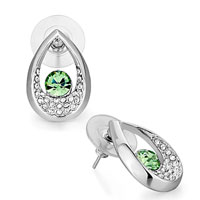 Fashion Drop Clear Crystal August Birthstone Peridot Crystal Stud Earrings