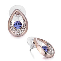 Mothers Day Gifts Rose Gold Drop Clear Crystal February Birthstone Tanzanite Swarovski Crystal Stud Earrings
