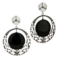 Silver Plated Black Round Pattern Resin Stud Earrings Vintage
