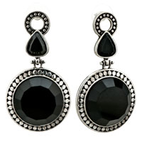 Silver Elegant Round Black Resin Holiday Earrings
