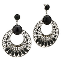 Black Birthstone Silver Round Pattern Resin Holiday Earrings