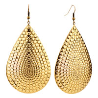 Stunning 14 Kgold Plated Waterdrop Shape Studded Dangle Hook Earrings
