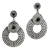 Silver Round Black Resin Stud Earrings