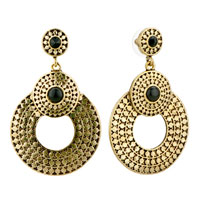 Shining Golden Round Dangle Re Holiday Earrings