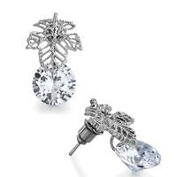 Filigree Vintage Antique Silver Leaf April Birthstone Clear Crystal Round Stud Earrings