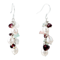 Chip Stone Earrings Genuine Pearl Red Gemstone Nugget Chips Dangle Earring