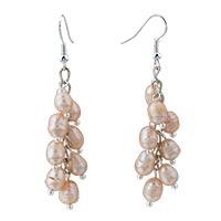 Chip Stone Earrings Pink Pearl Dangle Fish Hook Earrings