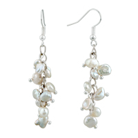 Chip Stone Earrings White Pearl Dangle Gorgeous Fish Hook Earrings