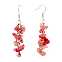 Cherry Quartz Chip Stone Earrings Dangle Earring Dangle Gorgeous Fish Hook Earrings