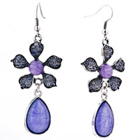 Light Purple Raindrop Flower Dangle Stone Chips Fish Hook Earrings