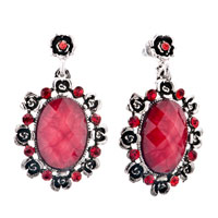 July Red Oval Stone Lace Stone Chips Dangle Earrings