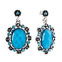 December Blue Oval Stone Lace Stone Chips Dangle Earrings