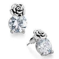 Silver Flower April Birthstone Clear Crystal Round Stud Earrings