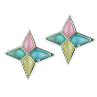 Lovely Handmade Sterling Silver Multicolor Star Stud Earrings
