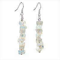 Genuine Pure White Dangle Gemstone Nugget Chips Dangle Earring Fish Hook Earrings For Women