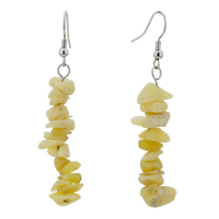 Chip Stone Earrings Genuine Shell Gemstone Nugget Chips Dangle Earring Beads Fish Hook Earrings