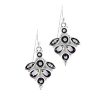 Handmade Sterling Silver Amethyst Cz Dangle Fish Hook Earrings