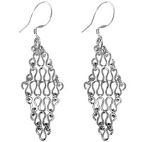 Handmade Sterling Silver Cascading Tapestry Dangle Fish Hook Earring