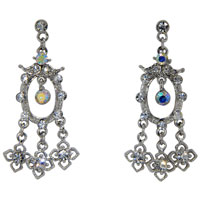 Handcrafted Colorful Crystal Cz Flower Chandelier Dangle Earrings