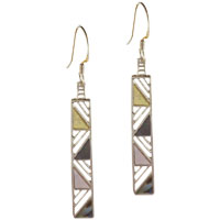 Sterling Silver Rectangular With Faux Pearl Inset Dangle Earrings