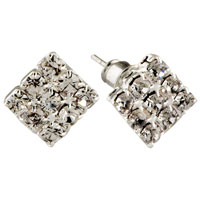 Fashion Handcrafted Square Black Crystal Cz Earrings Stud