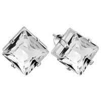 Hot Handmade Square Clear Crystal Cz Earrings Stud