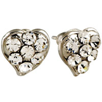 Fashion Handmade Heart Clear Crystal Earrings Stud For Women