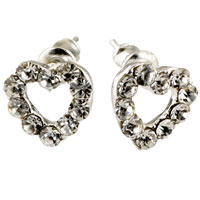Fashion Handmade Pierced Heart Clear Crystal Earrings Silver P Stud