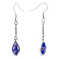 Silver Drop White Red Flower Millefiori Murano Glass Dangle Earrings