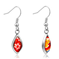 Silver Red Flower Drop Millefiori Murano Glass Earrings