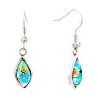 Silver Colorful Flower Drop Millefiori Murano Glass Earrings
