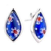 Silver Drop White Red Flower Millefiori Murano Glass Earrings
