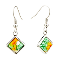 Silver Plated Colorful Flower Millefiori Murano Glassdangle Earrings