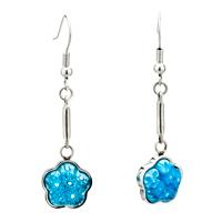 Silver Pale Blue Flower Millefiori Murano Glass Dangle Earrings