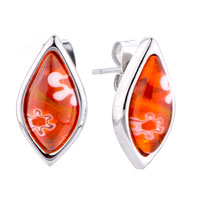 Silver Drop White Flower Against Orange Millefiori Murano Glass Earrings