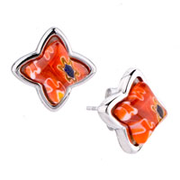 Silver Flower Fancy Orange Millefiori Murano Glassstud Earrings