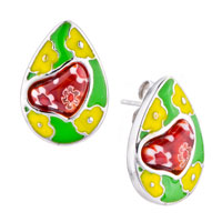 Silver Drop Yellow Flower Red Heart Millefiori Murano Glass Earrings