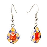 Silver Blue Flower Millefiori Murano Glass Dangle Earrings
